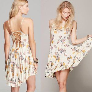 Free People CIRCLE OF FLOWERS Lace Up Slip Dress